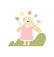 cute bunny in pink dress juggling with colorful vector image vector image