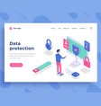 data protection concept office man and interact vector image