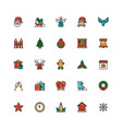 december holiday symbols colorful linear icons set vector image
