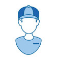 delivery worker with cap uniform vector image vector image