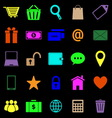 Ecommerce color icons on black background vector image