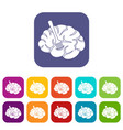 fork is inserted into the brain icons set flat vector image vector image