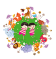 funny animals and happy kids on the ground round vector image vector image