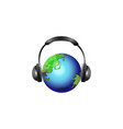 globe with headset isolated on vector image