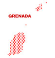 grenada map - mosaic of love hearts vector image vector image
