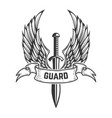 guard medieval sword with wings design element vector image