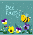 happy bee hand lettered text vector image vector image