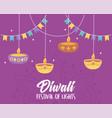 happy diwali festival hanging diya lamps candles vector image vector image