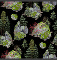 huge rock covered with moss surrounded by vector image