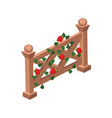 isometric cartoon wooden fence gate decorated vector image vector image