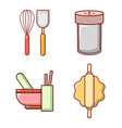 kitchen tool icon set cartoon style vector image