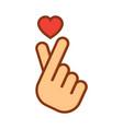 korean love sign hand folded into a heart symbol vector image vector image