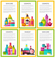 lot of skin care makeup cosmetic color banners vector image vector image