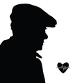 man with heartbeat icon silhouette vector image vector image
