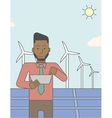 Man with solar panels and wind turbines vector image vector image