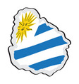 map of uruguay with its flag vector image vector image