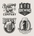 monochrome brewery vintage emblems vector image vector image