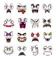 monster face emoji cartoon scary emoticons vector image vector image