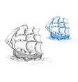 Old sailing ship in stormy waves vector image vector image