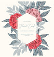 peony hand drawn frame vector image