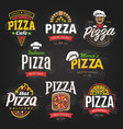 pizza emblems set vector image