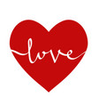 red heart with lettering love for greeting card vector image vector image