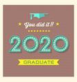 retro 2020 graduation greeting card vector image vector image
