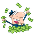 Salesman Playing In A Pile Of Money vector image vector image