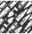 seamless pattern with different beer bottles vector image vector image