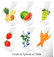 set of different milk splashes with fruit nuts vector image vector image