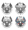 Set of vintage motorcycle emblems vector image vector image