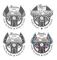set vintage motorcycle emblems vector image vector image