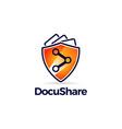 sharing symbol with orange guard shield logo vector image vector image
