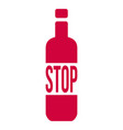 stop alcohol sign with bottle isolated on white vector image vector image