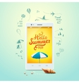 Summer poster Hello summer typographic vector image