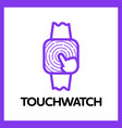 touch square watch app logo vector image vector image