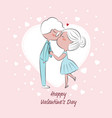 wedding or valentines day couple kissing on pink vector image