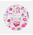 With love sticker set in circle vector image vector image