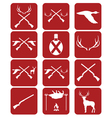 Hunting equipment and trophies icons set vector image