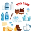 Milk shop and dairy products isolated icons vector image