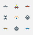 Auto colorful outline icons set collection of