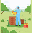 beekeeper on apiary beekeeping honey bee vector image
