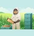 beekeepers with honey comb vector image vector image