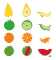 bitten fruits sequence over white vector image vector image