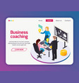 business coaching web site page vector image vector image