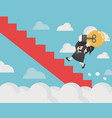 business woman holding light bulb ran up stairs vector image