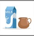 carton of milk and clay jug vector image vector image