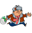 cartoon man toper in winter clothes running vector image vector image