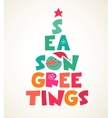 Christmas tree with season greetings cute cutout vector image vector image
