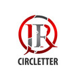 circle initial letter jr logo concept design vector image vector image